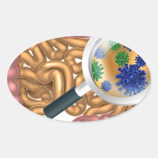 Magnifying Glass Gut Flora Oval Sticker
