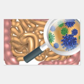 Magnifying Glass Gut Flora Rectangular Sticker