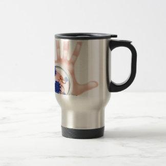 Magnifying Glass Hand Bacteria Virus Concept Travel Mug