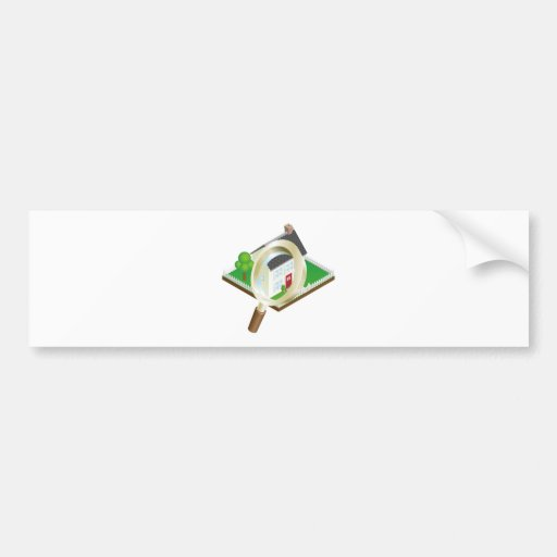 Magnifying glass house search concept bumper stickers