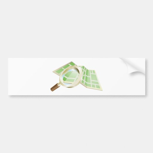 Magnifying glass map concept bumper stickers