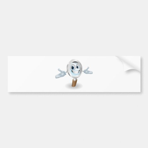 Magnifying glass mascot bumper sticker