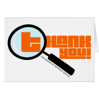 Magnifying Glass Orange Thank You Note Card