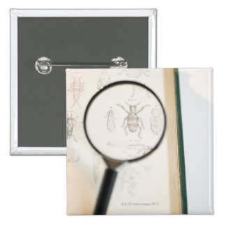 Magnifying glass over book showing insects 2 inch square button