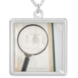 Magnifying glass over book showing insects silver plated necklace