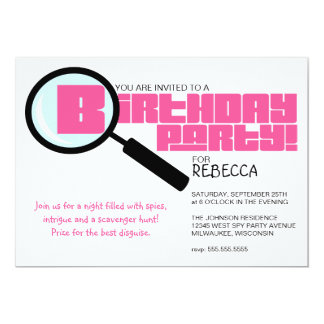 Magnifying Glass Pink Birthday Party Invitation