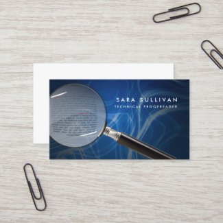Magnifying Glass Proofreader Business Card