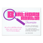 Magnifying Glass Purple Pink Birthday Invitation