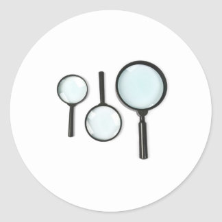 magnifying glass set classic round sticker