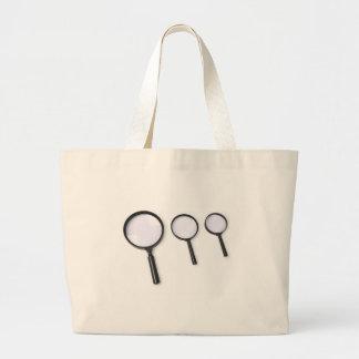 magnifying glass set large tote bag