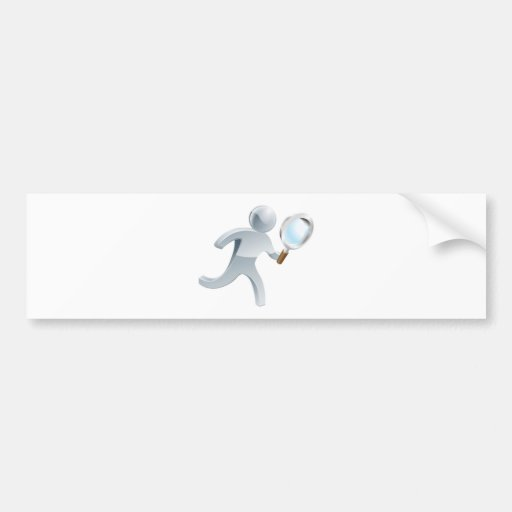 Magnifying glass silver person bumper stickers