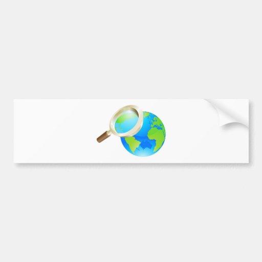 Magnifying glass world earth globe concept bumper sticker