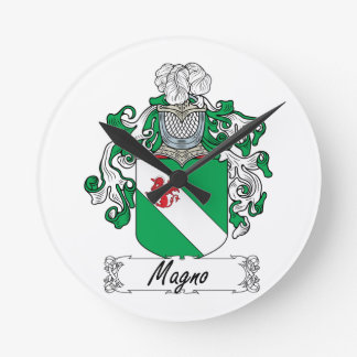 Magno Family Crest Round Wall Clocks