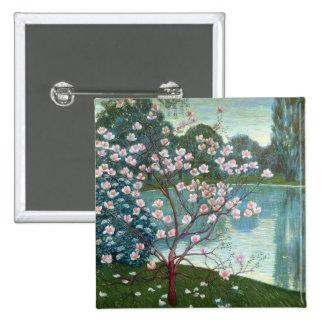 Magnolia (aceite en lona) pin cuadrada 5 cm