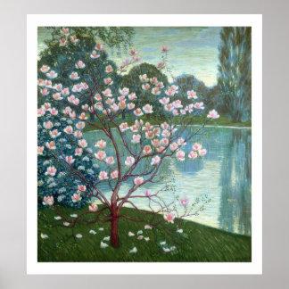 Magnolia (aceite en lona) póster