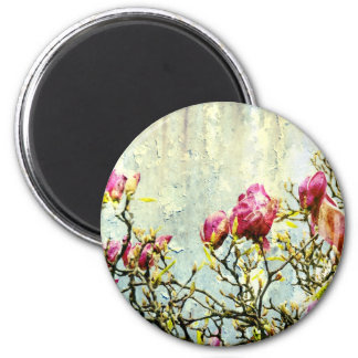 Magnolia aherrumbrada imán redondo 5 cm