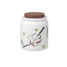 Magnolia And Honey Bees Candy Jar at Zazzle