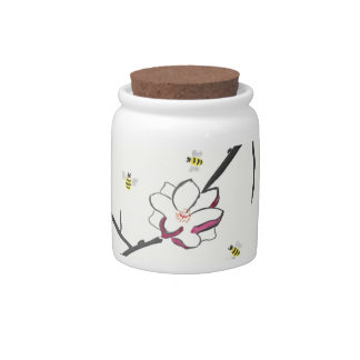 Magnolia and Honey Bees Candy Jar