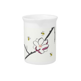 Magnolia and Honey Bees Drink Pitcher