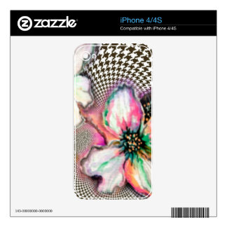 Magnolia and Hounds Tooth Design iPhone 4S Decal