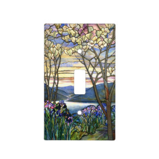 Magnolia and Iris Stained Glass Window Light Switch Cover