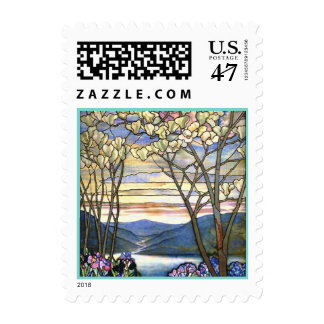 Magnolia and Iris Stained Glass Window Postage