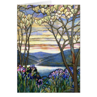 Magnolia and Iris Tiffany Stained Glass Window Card