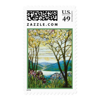 Magnolia and Irises by Tiffany Postage Stamp