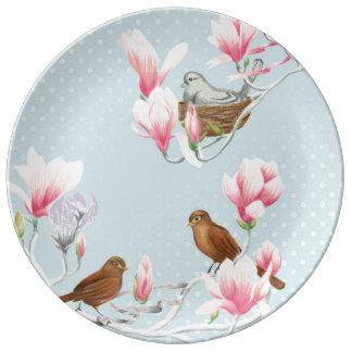 Magnolia and Sparrow Blue Decorative Plate