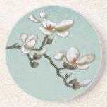 Magnolia azul y blanca del trullo del vintage posavasos manualidades