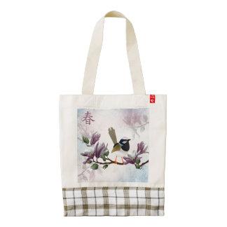"Magnolia bird ""Spring"" Zazzle HEART Tote Bag"