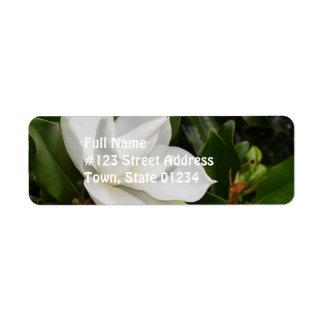 Magnolia blanca etiqueta de remitente