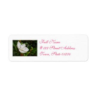 Magnolia blanca etiqueta de remite