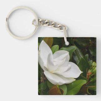 Magnolia blanca llavero cuadrado acrílico a una cara