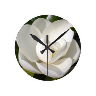 Magnolia Bloom Round Clocks