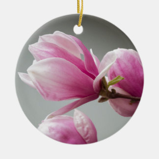 magnolia blooming  on tree Double-Sided ceramic round christmas ornament