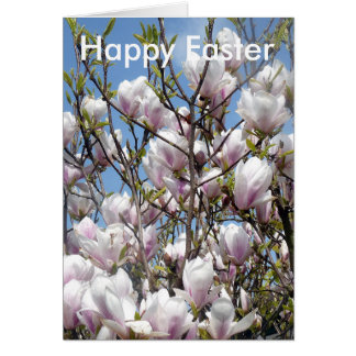 Magnolia Blooms In Spring Easter Greetings Card