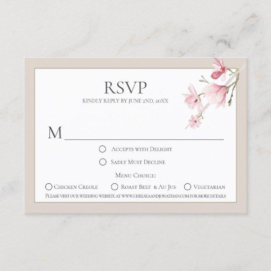 Magnolia Blooms Menu Choice RSVP Cards
