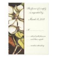 Magnolia Blossom Floral Wedding Invitation RSVP