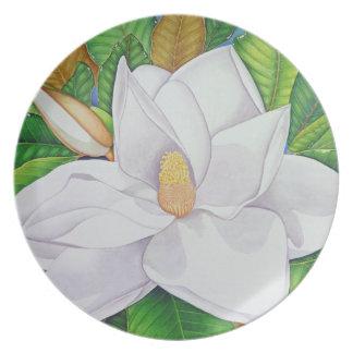 Magnolia Blossom Melamine Plate