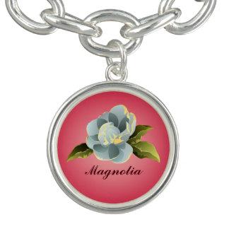 Magnolia Blossom on Pink Charm Bracelets