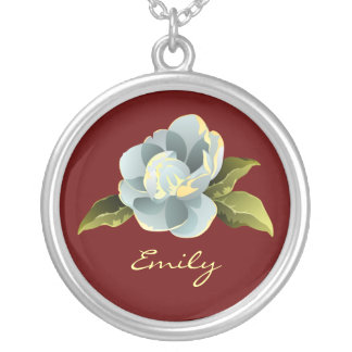 Magnolia Blossom Personalized Round Pendant Necklace