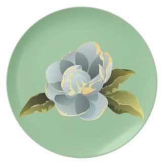 Magnolia Blossom with Leaves Dinner Plate