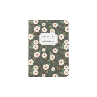 Magnolia Blossoms Floral Personalized Passport Holder