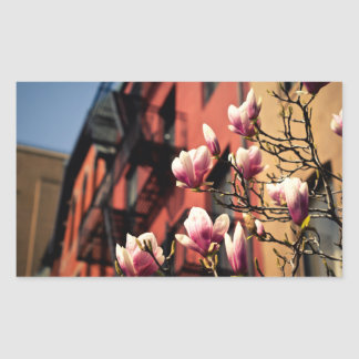 Magnolia Blossoms - New York City Rectangular Sticker