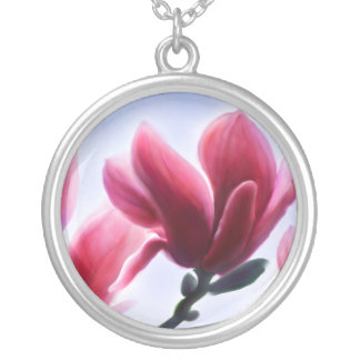 Magnolia Blossoms Silver Plated Necklace