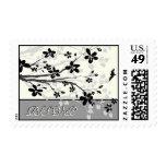 Magnolia branch black grey wedding RSVP stamp
