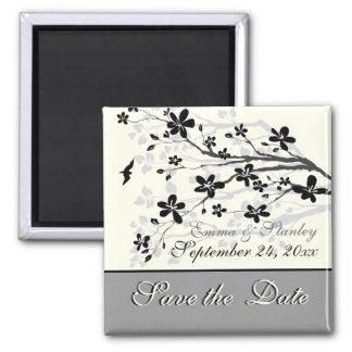 Magnolia branch black grey wedding Save the Date Refrigerator Magnets