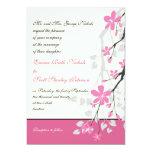 Magnolia branch pink wedding custom invitation card