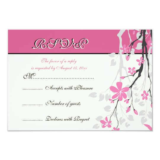 Magnolia branch pink wedding RSVP card